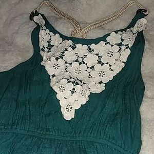 NWT teal dress, white lace floral detailing sz m